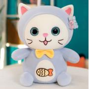 Мягкая игрушка Котенок с логотипом рыбки 30 см (Голубая)