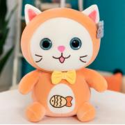 Мягкая игрушка Котенок с логотипом рыбки 30 см (Оранжевая)