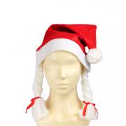 Карнавальная шапка Санты с косичками (Красный)