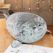 Мягкая игрушка-подушка Тюлень пятнистый 40 см (Темно-серый)