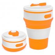 Складной силиконовый термо-стакан с крышкой 350мл Collapsible Coffee Cup (Оранжевый)