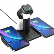 Беспроводное зарядное устройство 5 в 1 для двух смартфонов + Apple Watch + двух AirPods с поддержкой быстрой зарядки (Черное)