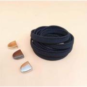 Эластичные шнурки без завязок с металлическим наконечником (Черные)