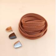 Эластичные шнурки без завязок с металлическим наконечником (Коричневые)