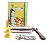 Кондитерский шприц-пресс для печенья Marcato Biscuits с 20 насадками (Серебристый)