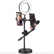 Светодиодная кольцевая лампа для селфи на штативе с держателями для двух телефонов и микрофона Mobile Phone Stand 26см (Черный)