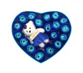 Подарочный набор Мыльные розы с мишкой (Голубой)
