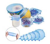 Силиконовые растягивающиеся крышки для посуды, набор – 6 шт.
