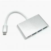 Переходник-адаптер USB 3.0x3 и Type-C (Серый)