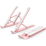 Портативная складная подставка для ноутбука с регулируемой высотой (Розовая)