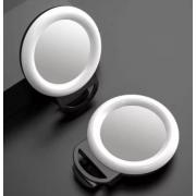 Селфи вспышка с зеркалом RGB LED для телефона, 16 см (Черная)
