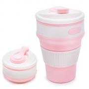 Складной силиконовый термо-стакан с крышкой 350мл Collapsible Coffee Cup (Розовый)