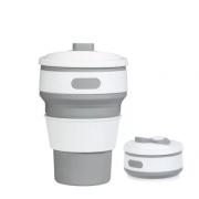 Складной силиконовый термо-стакан с крышкой 350мл Collapsible Coffee Cup (Серый)