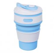Складной силиконовый термо-стакан с крышкой 350мл Collapsible Coffee Cup (Голубой)
