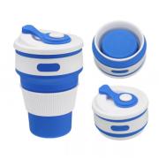 Складной силиконовый термо-стакан с крышкой 350мл Collapsible Coffee Cup (Синий)