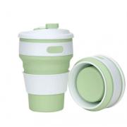 Складной силиконовый термо-стакан с крышкой 350мл Collapsible Coffee Cup (Зеленый)