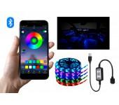 Светодиодная Bluetooth Лента цветная (RGB) led smd 5 метров с usb контроллером, управление через приложение со смартфона с возможностью подключения в машине