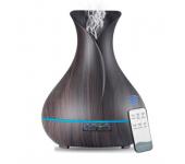 Ультразвуковой туманный увлажнитель воздуха и светильник аромадиффузор с пультом управления (Темное дерево)