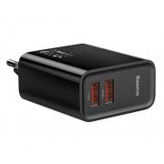 Сетевое зарядное устройство Baseus Speed Dual QC3.0 Quick charger U+U 30W EU CCFS-E01 (Черный)
