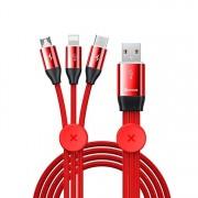 Кабель Baseus Car Co-sharing Cable USB For M+L+T 3.5A 1m CAMLT-FX09 (Красный)
