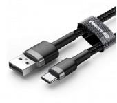 Кабель Baseus cafule Cable USB For Type-C 3A 1M CATKLF-BG1 (Серо-черный)