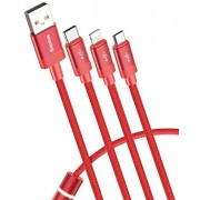 Кабель Baseus Data Faction 3-in-1 Cable USB For M+L+T 3.5A 1.2M CAMLT-PY09 (Красный)