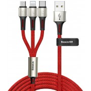 Кабель Baseus caring touch selection 1-in-3 USB cable CAMLT-GH09 (Красный)