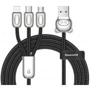 Кабель Baseus 3-in-1 USB Cable of Three Little Pigs USB For M+L+T 3.5A 1.2m CAMLT-PG01 (Черный)