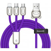 Кабель Baseus 3-in-1 USB Cable of Three Little Pigs USB For M+L+T 3.5A 1.2m CAMLT-PG03 (Синий)