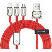 Кабель Baseus 3-in-1 USB Cable of Three Little Pigs USB For M+L+T 3.5A 1.2m CAMLT-PG09 (Красный)