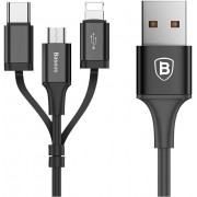 Кабель Baseus Excellent Three-in-one Cable USB For Micro/Lightning/Type-C 2A 1.2M CA3IN1-ZY01 (Черный)