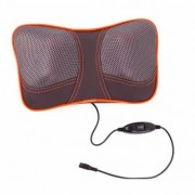 Массажная подушка с ИК-прогревом Massager Pillow 4 ролика(Серый с оранжевым)