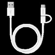 Дата-кабель 2 в 1: micro USB, Type-C 120см (Deppa, белый)