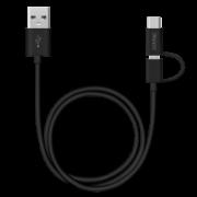 Дата-кабель 2 в 1: micro USB, Type-C 120см (Deppa, черный)