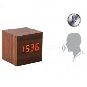 Электронные часы деревянный куб с звуковым управлением VST-869 (Коричневый)
