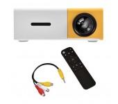 LED мини-проектор беспроводной Unic YG-300 с поддержкой HD видео портативный с пультом ДУ и аккумулятор в комплекте (корпус бело-желтый)
