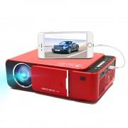 Проектор Everycom T6 мультимедийный для домашнего кинотеатра c пультом ДУ для дома и офиса подключение к разным устройствам ждущий режим многослойное покрытие оптики крышка для защиты линзы LCD Full HD HDMI 2xUSB AV AUX VGA (Красный)