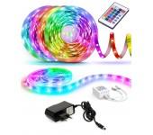 Светодиодная лента LED SMD 5050 5m с блоком питания пультом контроллером 16 цветов 300 светодиодов на выбор разные цвета влагостойкая для гостиной кухни спальни ванной прохожей  RGB IP65 12V  (Цветная)
