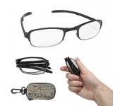 Складные увеличительные очки-лупы для работы и чтения классический дизайн для мужчин и женщин (Черный)