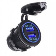 Разъем Usb в авто встраиваемый для легковых и грузовых автомобилей и мотоциклов 12V-24V 2USB SKU-A10 3.1A (Черный)