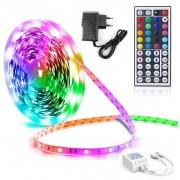 Светодиодная лента Led Strip RGB 5050 диммируемая, для дома ванной кухни спальни прихожей гостиной влагозащитная и пылезащитная IP67 с блоком питания и пультом ДУ 12V 5м (Цветная + белый цвет)