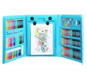Набор юного художника с мольбертом цветные фломастеры карандаши масляные мелки грифельные мелки акварельные краски  176 предметов для детей от 7 до 12 лет (Голубой)
