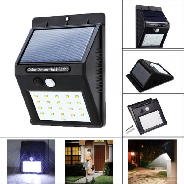 Фонарь LED Ever brite на солнечной батарее с датчиком движения Solar Motion 20 светодиодов (Черный)