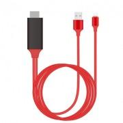 Кабель-адаптер Lightning+USB-А to HDMI (Красный)