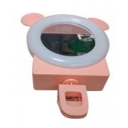 Селфи-лампа с зеркалом на телефон (Розовый)