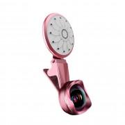 Светодиодная лампа с объективом для селфи L-965 3in1 (Розовый)