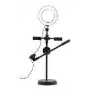 Светодиодная кольцевая лампа для селфи на штативе с держателями для двух телефонов и микрофона Mobile Phone Stand 20см (Черный)