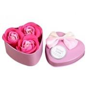 Розы из мыла в металлической коробке 3шт (Розовый)