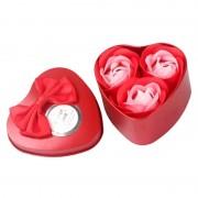 Розы из мыла в металлической коробке 3шт (Красный)