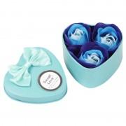 Розы из мыла в металлической коробке 3шт (Синий)